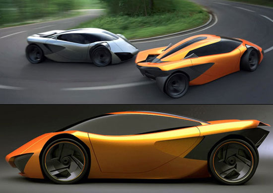 imagen compuesta del Lamborghini Minotauro Concept en curvas e imagen lateral