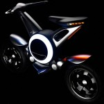 Prototipo Yamaha electrica, sobre fondo negro