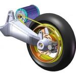 Imagen-dibujo mostrando el sistema de tracción por correa a la rueda trasera, del Peugeot VIVACITY, scooter eléctrico.