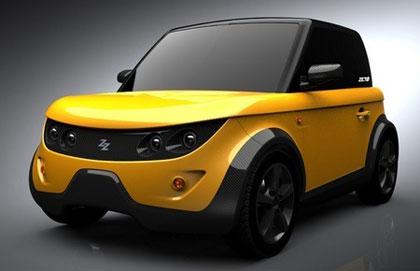 Tazzari Zero de color amarillo y con los cristales negros