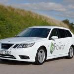 el Saab 9-3 ePower saliendo de una curva