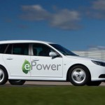 foto lateral del Saab 9-3 ePower circulando