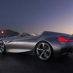 imagen lateral-inferior del BMW Vision Connected Drive, de fondo una ciudad