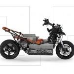 imágen sin carenado donde apreciamos las estructura, junto con cuadros explicativos de las partes del scooter eléctrico BMW E-Scooter