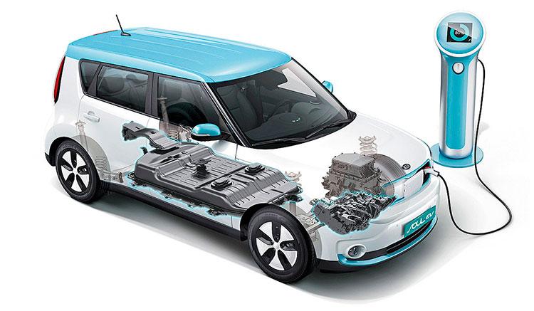 Imagen donde vemos un KIA Soul EV recargando sus baterías con la toma de recarga frontal del vehículo.