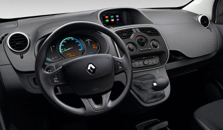 Imagen donde podemos apreciar los detalles interiores de la furgoneta eléctrica Renault Kangoo ZE.