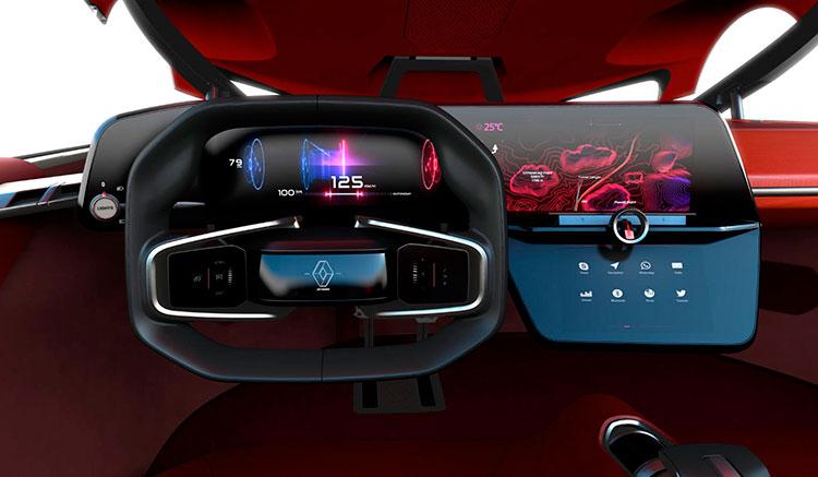 Imagen donde vemos el volante y el panel de control del prototipo eléctrico y autónomo de Renault, el Trezor Concept.