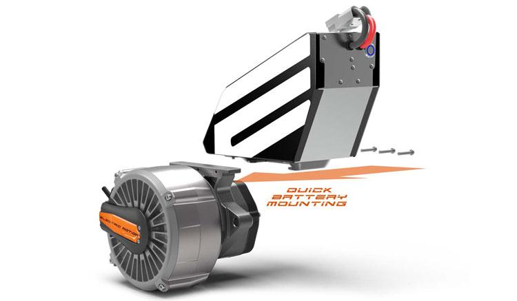 Imagen donde podemos ver el diseño y formato, tanto de la batería extraíble de la Electric Motion Epure, como de su motor eléctrico.