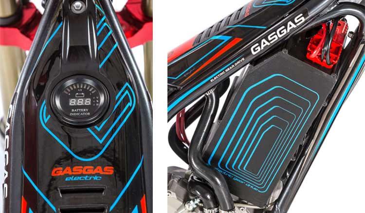 Imagen donde podemos ver una imagen compuesta donde aparece una vista lateral de la batería y una vista superior que muestra el indicador de autonomía de la GasGas TXE.